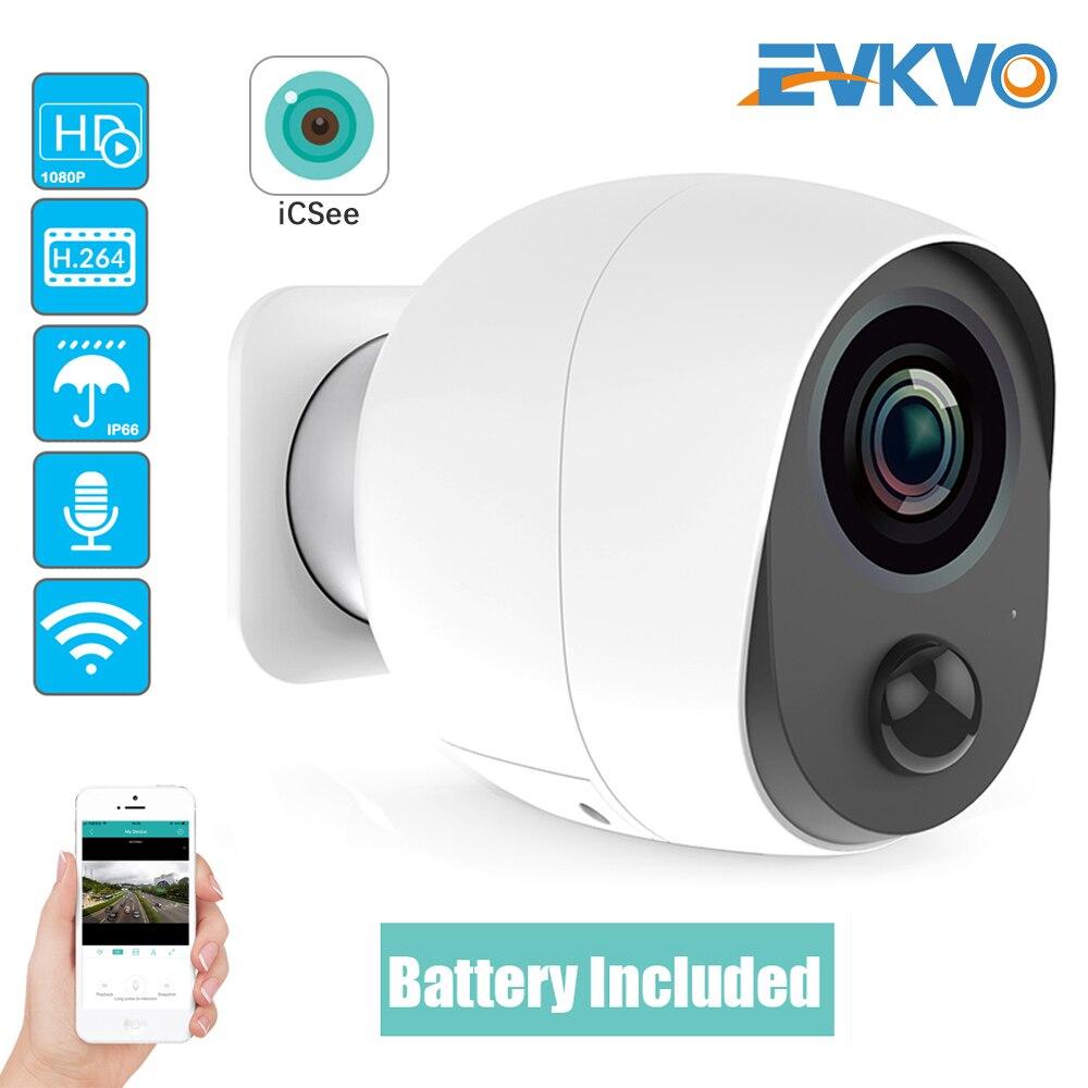 EVKVO 1080P ICSEE بطارية في الهواء الطلق واي فاي كاميرا IP بطارية الأمن كاميرا بطارية لاسلكية كاميرا مراقبة 2MP كاميرا مقاومة للماء