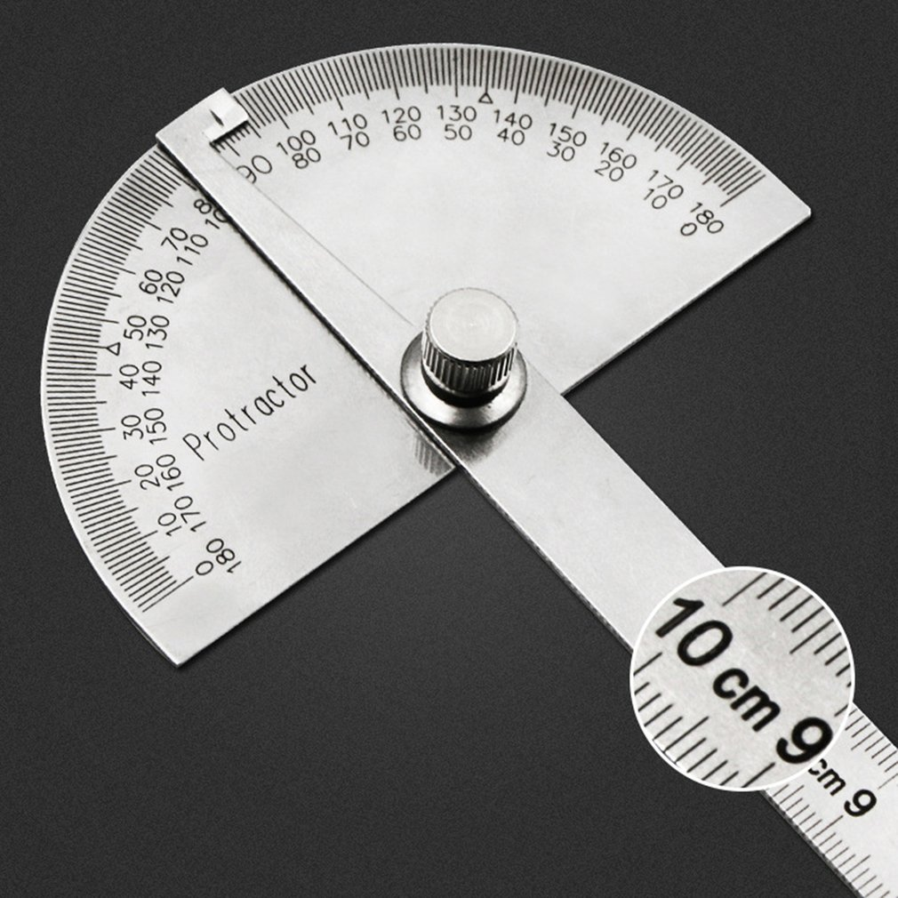 180 Degree Measuring Angle Ruler Stainless Steel Gauge Adjustable Multifunction Semicircle Ruler Mathematics Measuring tool stainless steel ruler junior high school physics and mathematics teaching instrument
