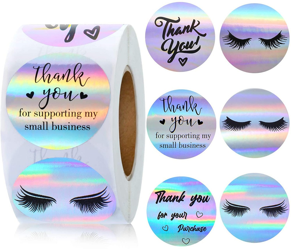 500pcs Holographic Thank You Stickers Roll Round Adhesive Packaging Decorative Stickers for Small Business, Envelopes, Gift Bags