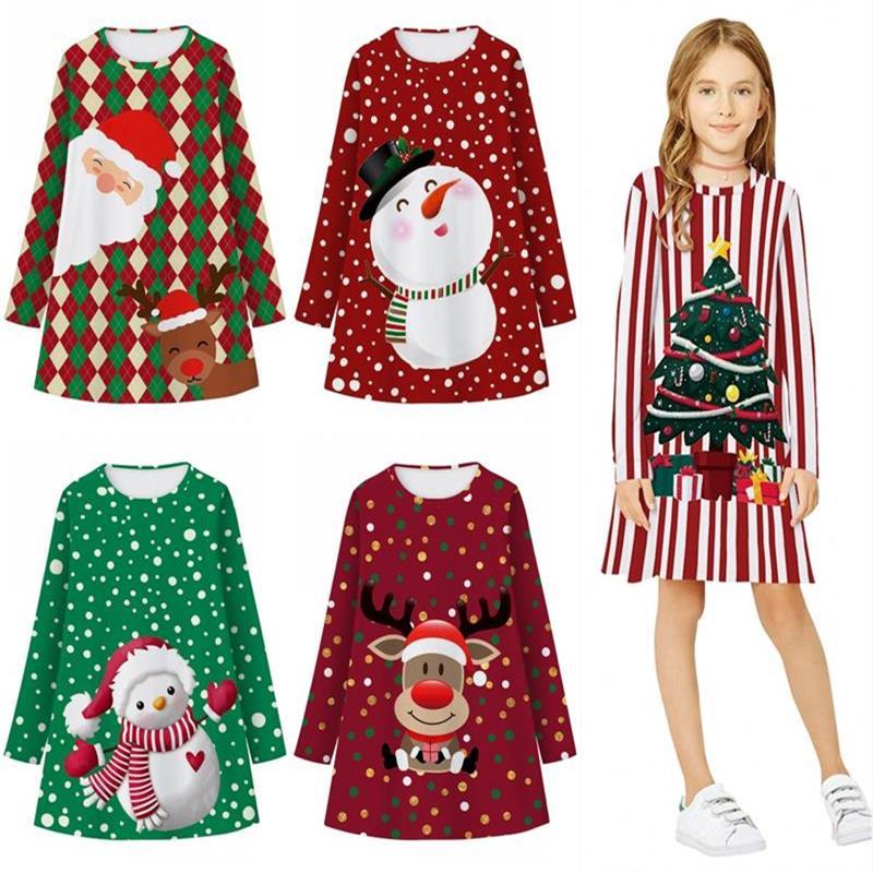 Vestido de Navidad para niña pequeña, ropa de manga larga con estampado...