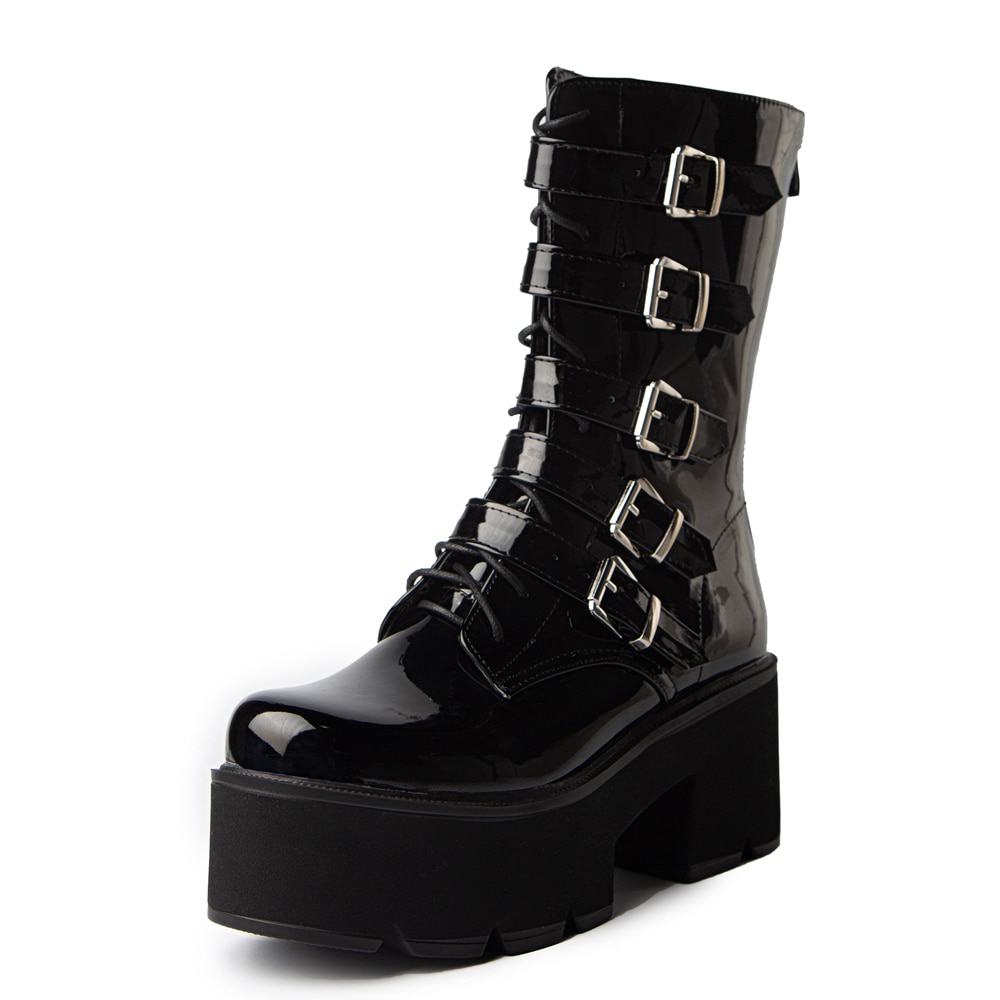 AliExpress - Ultra-High Waterproof Platform Patent Leather Belt Buckle Mid-Calf Boots Inner Heightening Thick Sole Bright Leather Motorcycle
