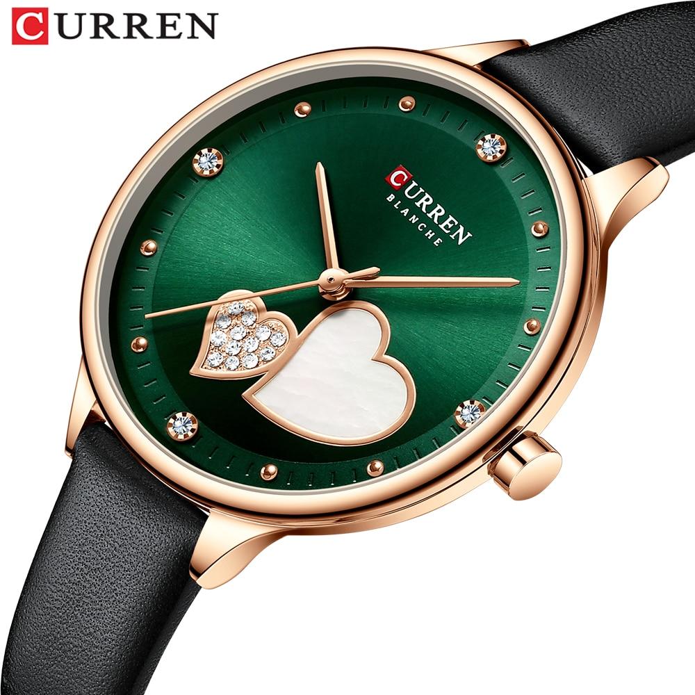 CURREN Women's Watches Top Brand Luxury Quartz Leather Wristwatch with Rhinestone Elegant Thin Clock for Female