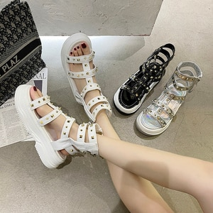 Gladiator Sandals Women 2021 Summer Flats Sandals Flat Platform Rivet Women's Sandal Hollow Out Casual Cool Boots Sandals Ladies