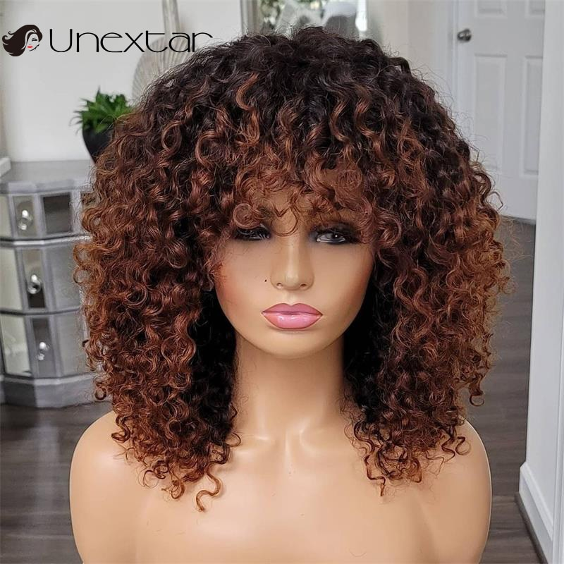 AliExpress - Unextar 180 Density Remy  Brazilian Short Bob Curly Human Hair Wigs Curly Wig With Bangs Full Machine Made Wig  For Women