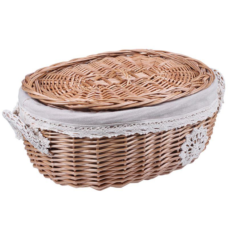 Mimbre cesta de almacenamiento grande con tapa cesta para aperitivos casa Decoración Para sala de estar juguete acabado de escombros de almacenamiento cesta