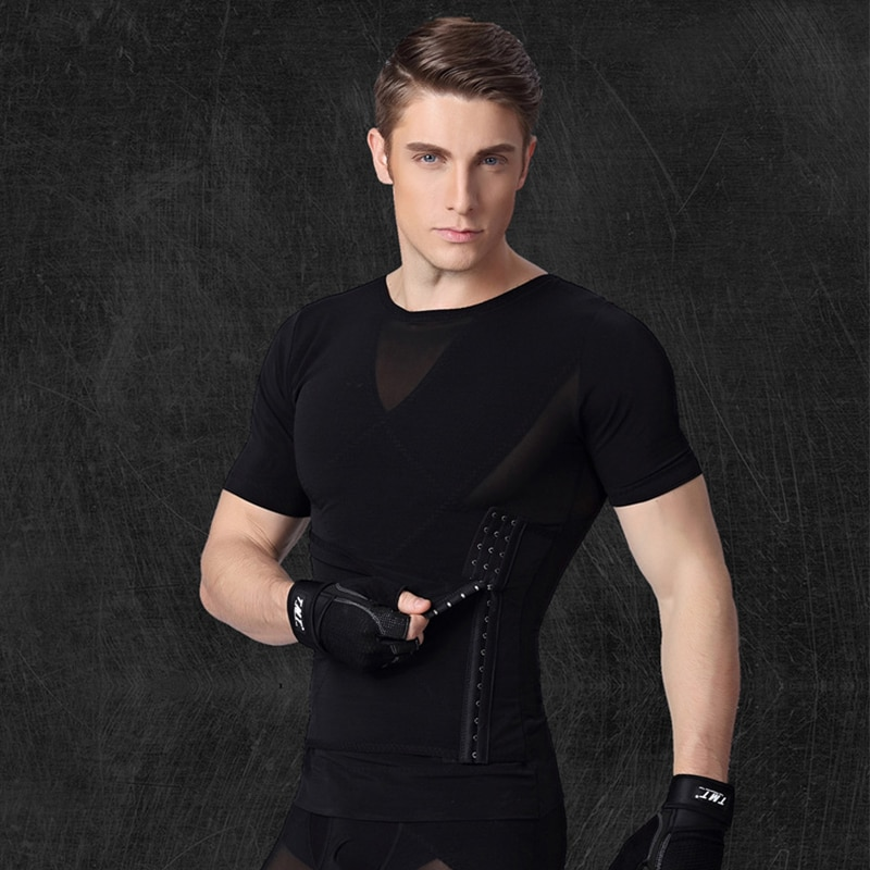 Mens Compression Shirt Slimming Body Shaper Vest Workout Tank Tops Abs Abdomen Undershirts Double Belly Control Shapewear Top