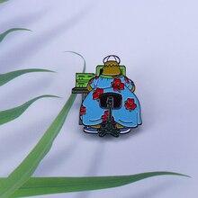 Simpsons lapel pin Homer Simpson at work in flower dress brooch