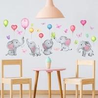 tofok cartoon elephant balloon butterfly wall sticker childrens room living room bedroom study room decoration wallpaper