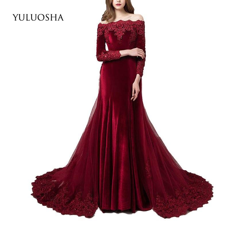 YULUOSHA Sexy Boat Neck Full Sleeve Slim Lace Evening Dress Party Formal Gowns Long Train Trumpet Vestidos Robe Ceremonie Femme
