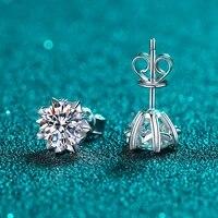 umq excellent cut pass diamond test d color snowflake moissanite stud earrings 925 silver engagement moissanite earrings