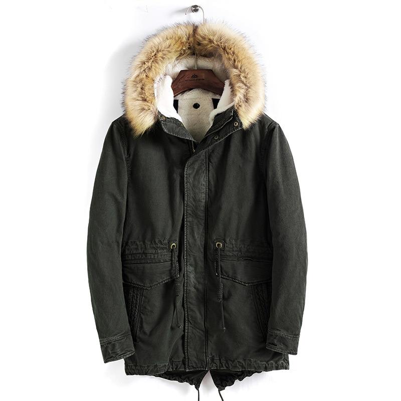 Men Brand Winter Faux Fur Collar Long Thick Cotton Parkas Jacket Coat Men Hooded Pockets Outwear Waterproof Jacket Parka Men