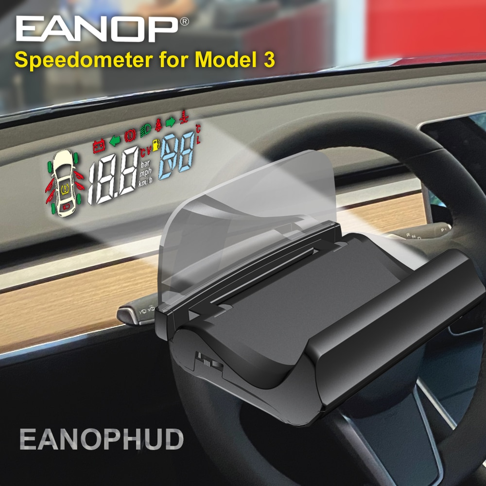 EANOP HUD Windshield Speed Projector Alarm Speedometer with Turning gear Light Reminding for tesla m
