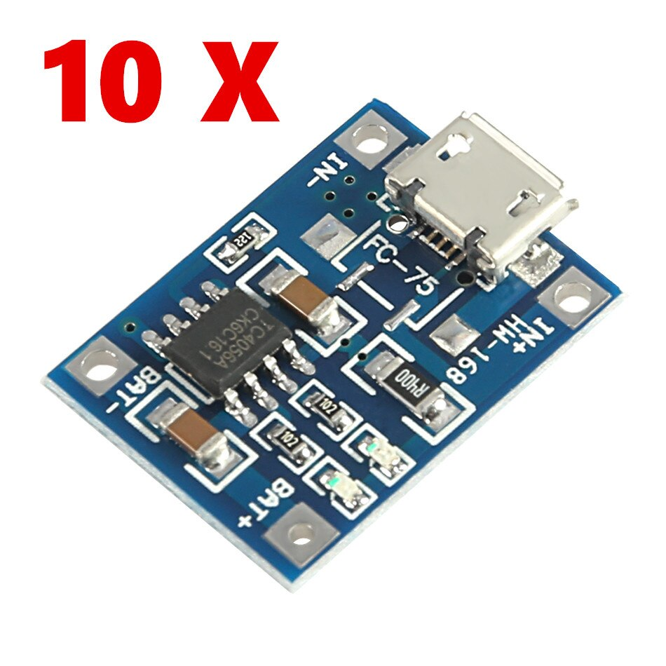 Фото - 10pcs/lot TP4056 5V TENSTAR ROBOT 1A Micro USB 18650 Lithium Battery Charging Board Charger Module+Protection Dual Functions 10pcs 5v 1a type c usb 18650 lithium battery charging board charger module protection dual functions tp4056 module charging