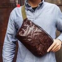 aetoo mens chest bag vintage handmade casual sports bag plant tanning cowhide slanted waist bag