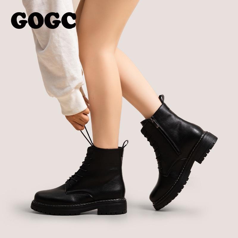 GOGC السيدات مارتنز أحذية مكتنزة دراجة نارية أحذية للنساء الخريف الشتاء منصة حذاء من الجلد الإناث جلد البقر الأحذية G9021
