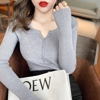 zoulv v neck knitted bottoming shirt womens 2021 autumn and winter new warm button sexy inner wear fashionable temperament top