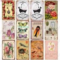 Plaque decorative Vintage en etain  en forme de fleur  pour maison  vie douce et heureuse  decoration murale de jardin  salon  Club  WY146