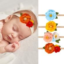 New Felt Flower Headband for Baby Girls Floral Elastic Hair Band Bows Newborn Toddler Headwear Cute Girls Hair Accessories
