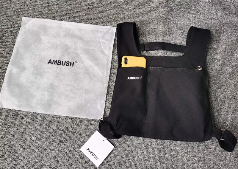 Ambush Backpacks Men Women Canvas AMBUSH Bags Japan Street Culture Bag Chest Two pockets Logo Print Backpack