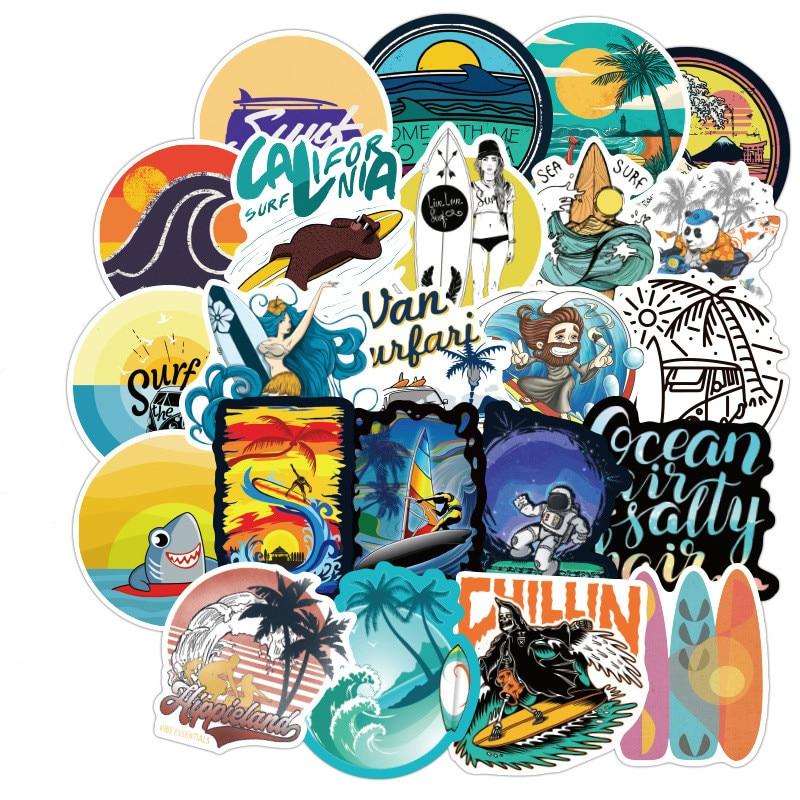 100 шт. наклейки для серфинга на открытом воздухе летние спортивные тропические пляжные водонепроницаемые наклейки для серфинга Сделай Сам доска для серфинга наклейка для скейтборда автомобиля