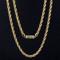 dnschic 6mm twist thick necklace iced out plated rope chain for men women hip hop jewelry necklace rapper street fashion