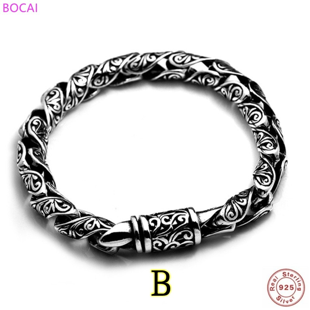 BOCAI Real S925 Silver Bracelet For Man And Women New Fashion Rataan Totem Thai Silver Hand Chain Pure Argentum Jewelry
