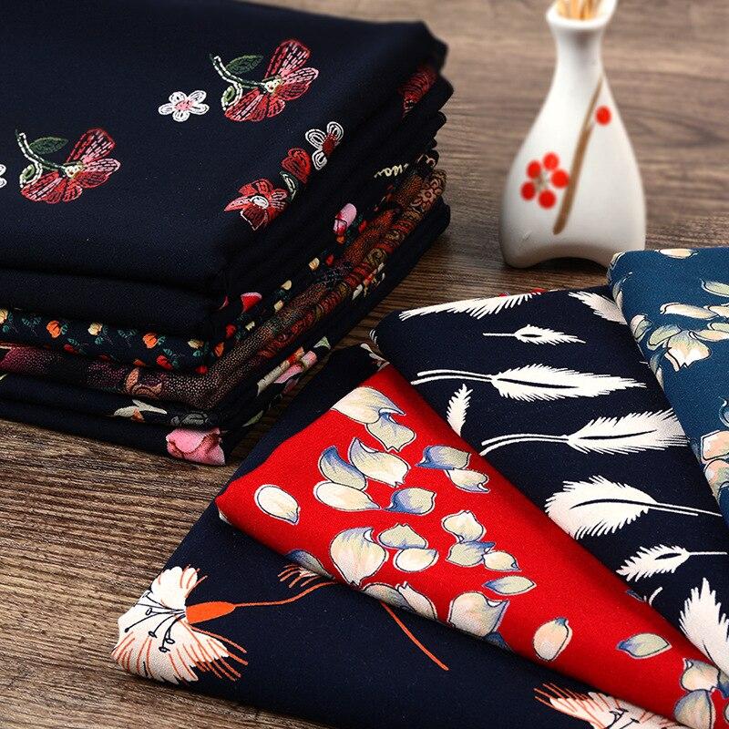 1 метр высокое качество Винтажные Цветы Ткань вискоза мягкий платье пижамы материал ВИСКОЗА ткани
