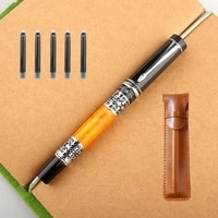 new 808 metal celluloid orange fountain pen 0 5mm nib with converter excellent quality office business writing gift ink pen