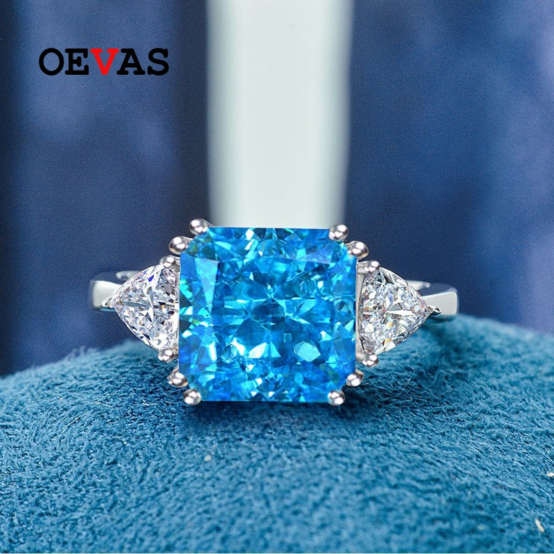 OEVAS 100% 925 فضة 10*10 مللي متر الزبرجد Paraiba عالية الكربون خواتم الماس للنساء تألق الزفاف غرامة مجوهرات