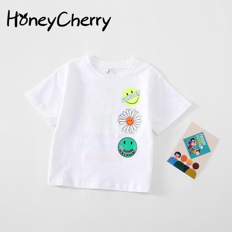 Crianças T-shirt2020 verão novas crianças impresso t-shirts menino e menina puro algodão superior meninos roupas