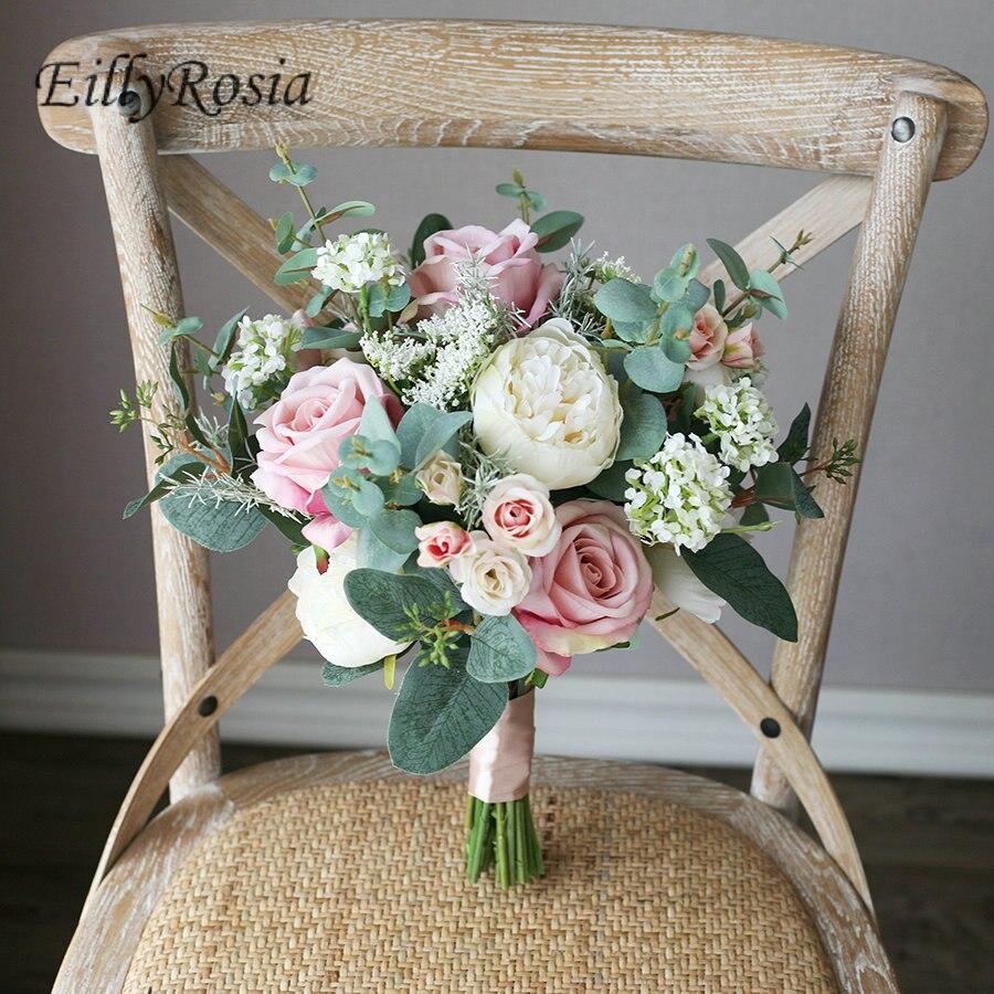 Ramo de novia de Color Retro Morandi de EillyRosia, ramo de novia Artificial de imitación de rosa para novia, ramo de flores para dama de honor