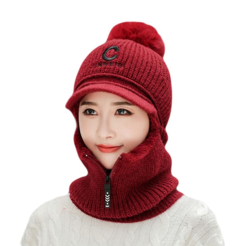 Novo balaclava máscara facial velo máscara de esqui chapéu de malha com zíper pescoço mais quente nariz mais quente rosto capa de inverno carta capa chapéu para wo