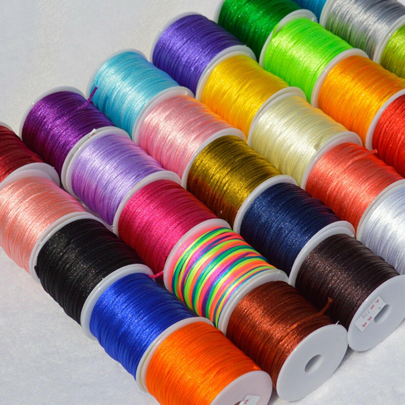 40 medidores de seda de cetim chinês cabo nó 2mm rattail fio colar carretel