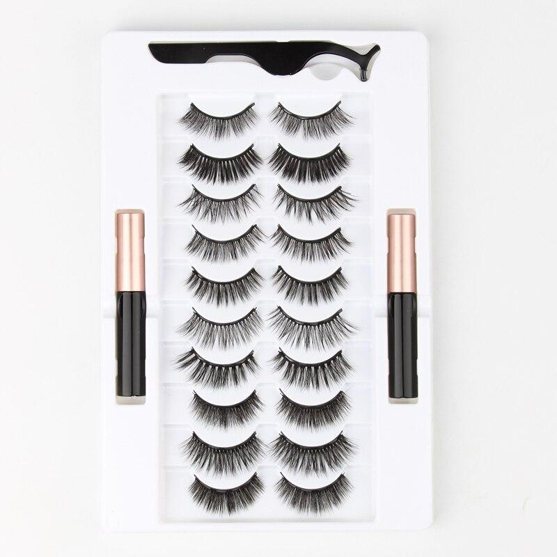 Ímã de Longa Pares Cílios Magnéticos 3d Vison Duração Líquido Delineador & Pinça Conjunto Natural Falso Maquiagem Kit 3 – 5 10