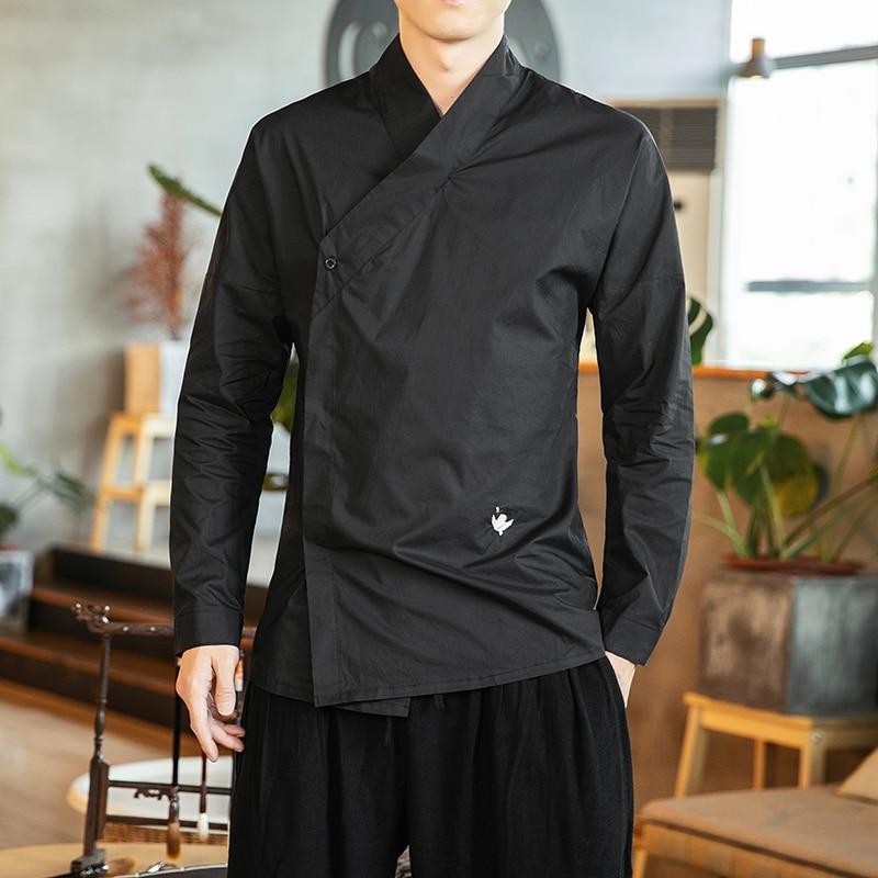 Oriental Shirts For Men Hanfu Chinese Style Men Shirt Cotton Linen Streetwear Men Shirts Casual White Shirt Men Fashions Big 5XL