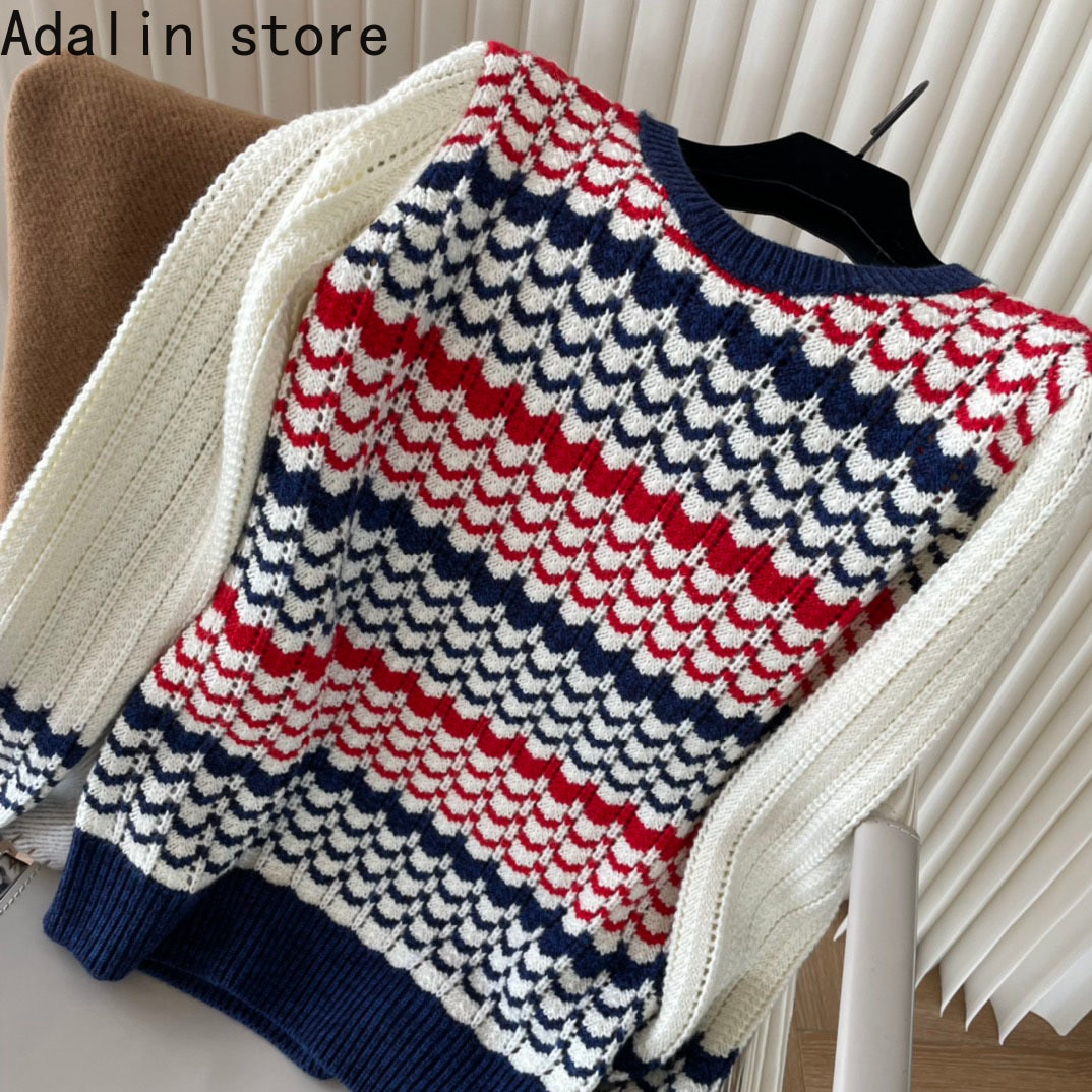 2021 luxury design autumn and winter new fashion women's Retro jacquard sweater color matching long sleeve round neck sweater enlarge