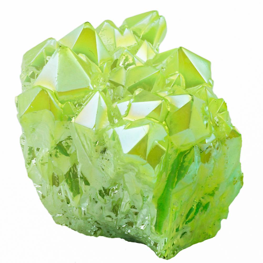 TUMBEELLUWA Lemon Green Titanium Coated Crystal Rock Quartz Cluster Geode Druzy Gem Stone Home Decoration Specimen