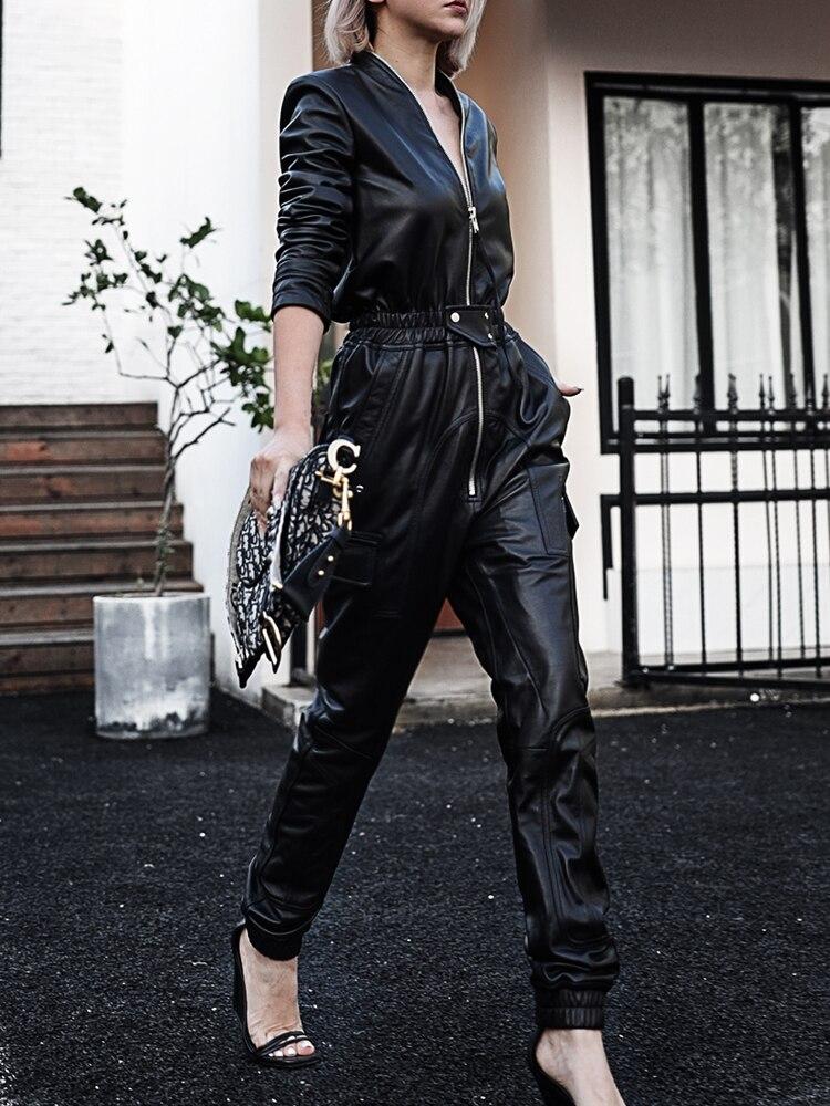 Nerazzurri Autumn Long black soft faux leather jumpsuit women long sleeve zipper pu leather jumpsuits for women 2021 Streetwear