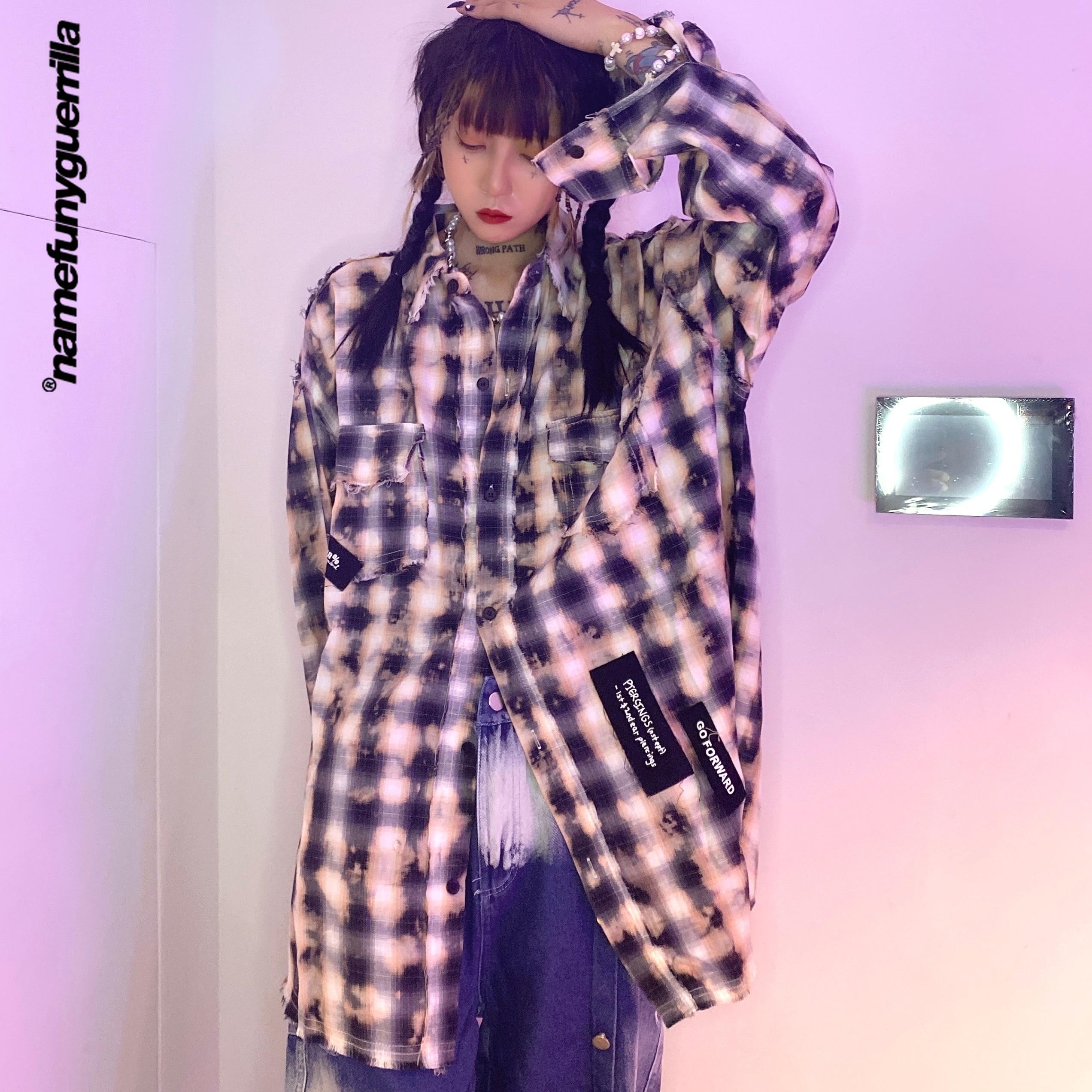 Namefunyguerrilla منقوشة الياقة زر قميص يصل قميص طويل الأكمام الهيب هوب شحن مجاني البنود الملابس للنساء حجم كبير 21008