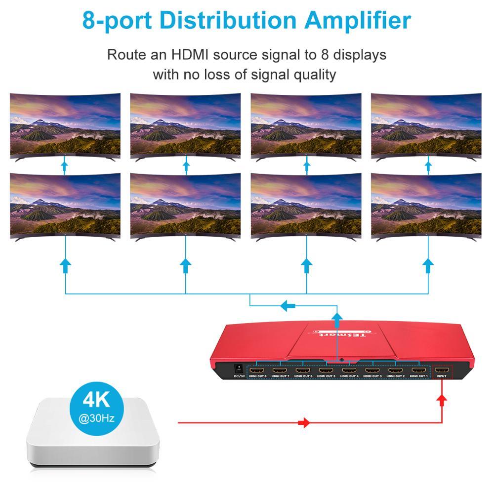 1x divisor HDMI 8 puertos divisor 1 en 8 Out la resolución hasta Ultra HD 4K 30Hz soporte Dolby®TrueHD Dolby Digital®Plus