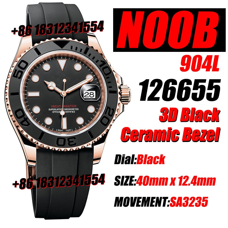 Men's Luxury Watch YachtMaster 126655 40mm Noob 18K Rose Gold Plated 3D Black Ceramic Bezel  Black Rubber Strap SA3135 Movement
