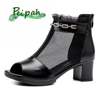 PEIPAH 2020 New Women's Peep Toe Muslin Pumps Genuine Leather Shoes Woman Slip On Casual Heels Female Platform Square Heel Pumps