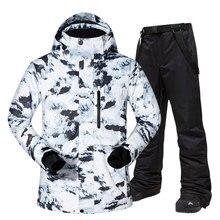 Tuta da sci Degli Uomini di Inverno Caldo Antivento Impermeabile Sport All'aria Aperta Scarponi Da Neve Giubbotti e Pantaloni Caldo Attrezzatura Da Sci Giacca Da Snowboard di Marca Degli Uomini