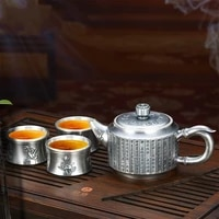 silver teacup silver teapot sterling silver 999 tea set practical silverware double anti scalding 1 pot and 3 cups
