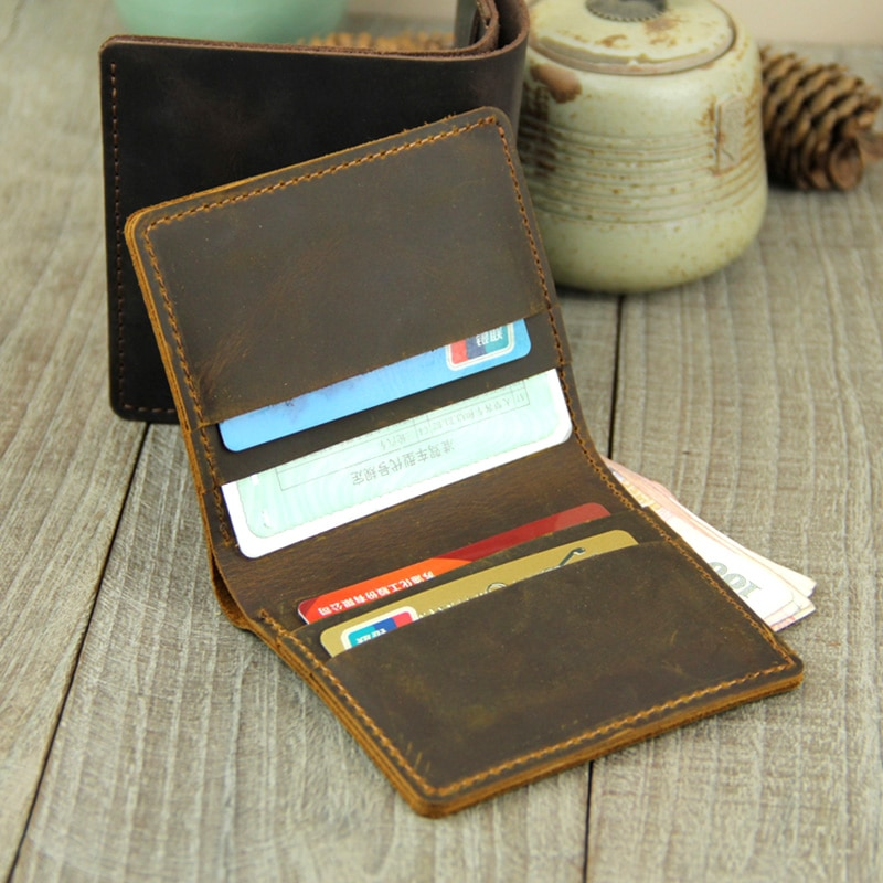 AETOO Handmade wallet, male mad horse leather mini wallet, men's short head leather retro wallet aetoo handmade leather wallet head layer cowhide money clip simple design male and female general