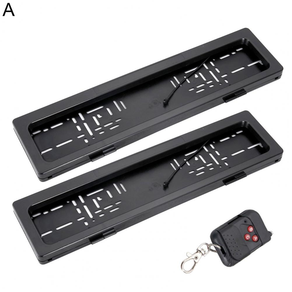 2Pcs Front Rear License Plate Frame Roller Shutter Electric Remote Control License Plate Holder for European Standard Electric N