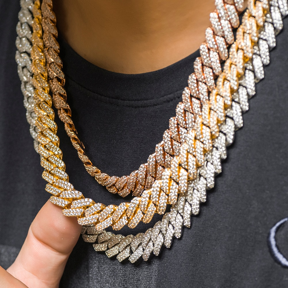 12mm Prong Cuban Link Choker Full Iced Out Chain Dad Jewelry
