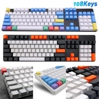 mechanical keyboard keycap 108pcsset pbt color matching light proof replacement side letters key caps universal keyboard parts