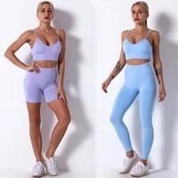 2 piece seamless gym set yoga pants clothing bra leggings workout shorts sportswear fitness ensembles sports wear women outfits