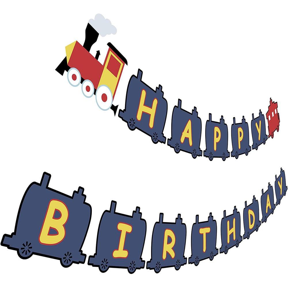 Feliz aniversario feliz aniversário banner avião trem bday festa bunting